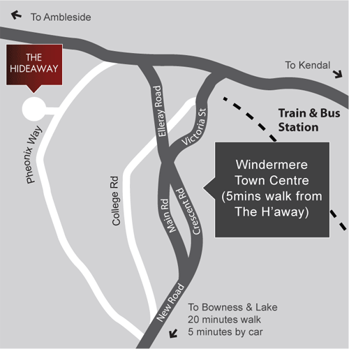 Map showing location of The Hideaway at Windermere hotel from Windermere town centre