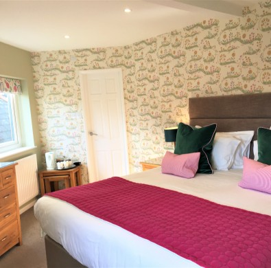 Bed & fittings in luxury room at Lake District boutique hotel