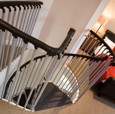 Interior stairs in luxury bedroom at The Hideaway at Windermere hotel