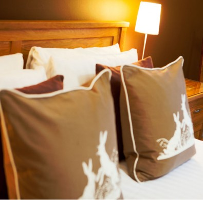 Luxury bedroom interior at boutique B&B The Hideaway at Windermere